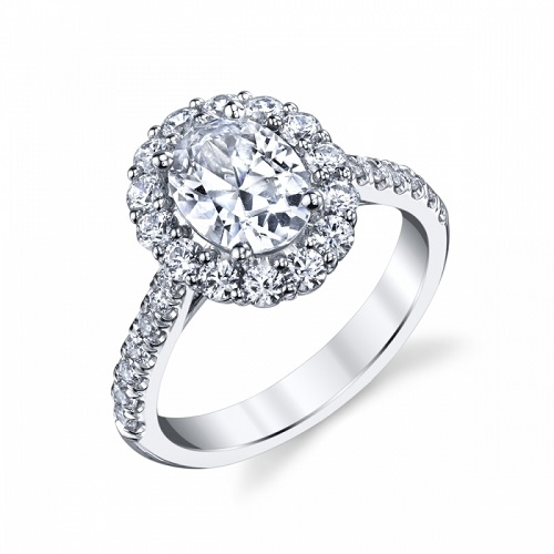 Coast Diamond oval halo engagement ring LC10433