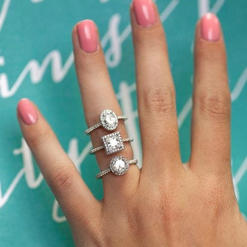 Coast Diamond petite halo engagement ring LC5410 oval princess round rose