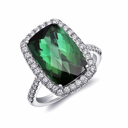 Coast Diamond Signature Color Collection green tourmaline halo ring LCK10202-GT