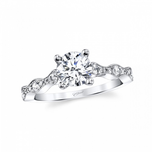 Coast Diamond solitaire engagement ring LC7047 scalloped graduated diamond band milgrain edging