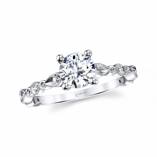 COast Diamond modern solitaire engagement ring LC7048 marquise round shapes milgrain edging