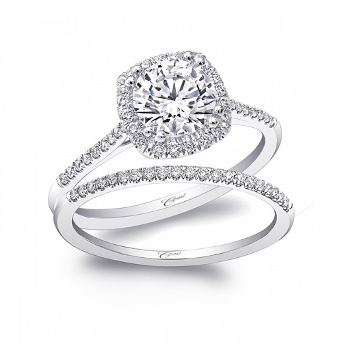 Coast Diamond cushion shaped halo engagement ring LC5410