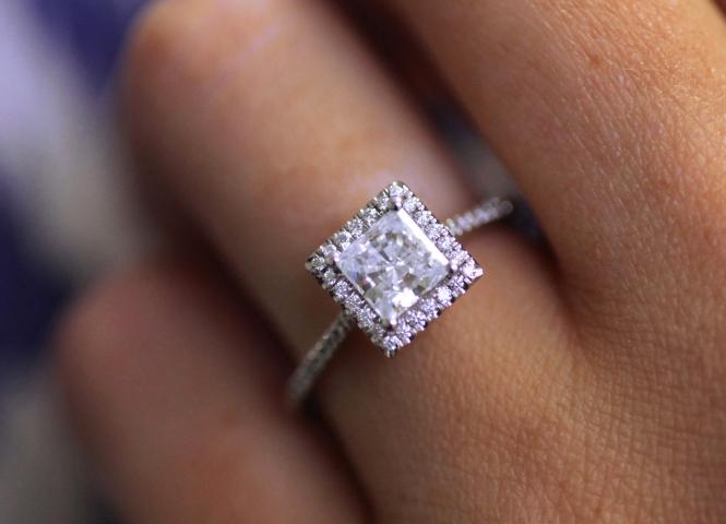 Coast Diamond Princess Cut Halo Engagement Ring LC5410-PC