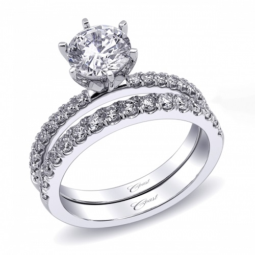 Coast Diamond 6 prong engagement ring LC5244_fishtail set diamond wedding band WC5244