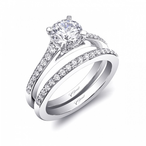 Coast Diamond Romance Collection solitaire engagement ring LC5442 graduated pave diamond shank