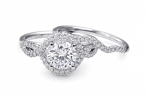 Coast Diamond engagement ring LC5449 intertwining diamond halo and contoured band