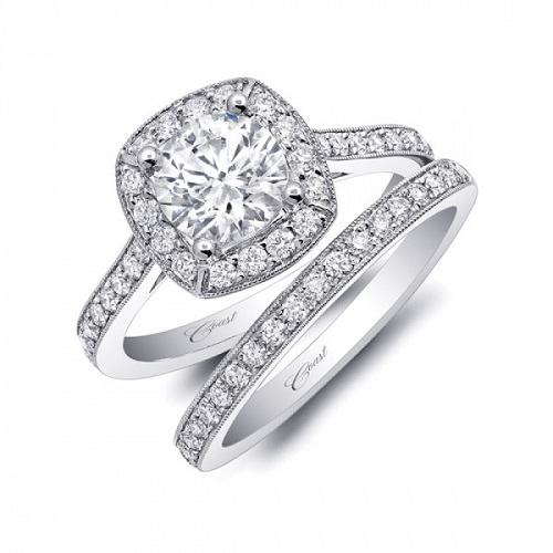 Coast Diamond halo engagement ring LC5357 pave diamonds milgrain edging