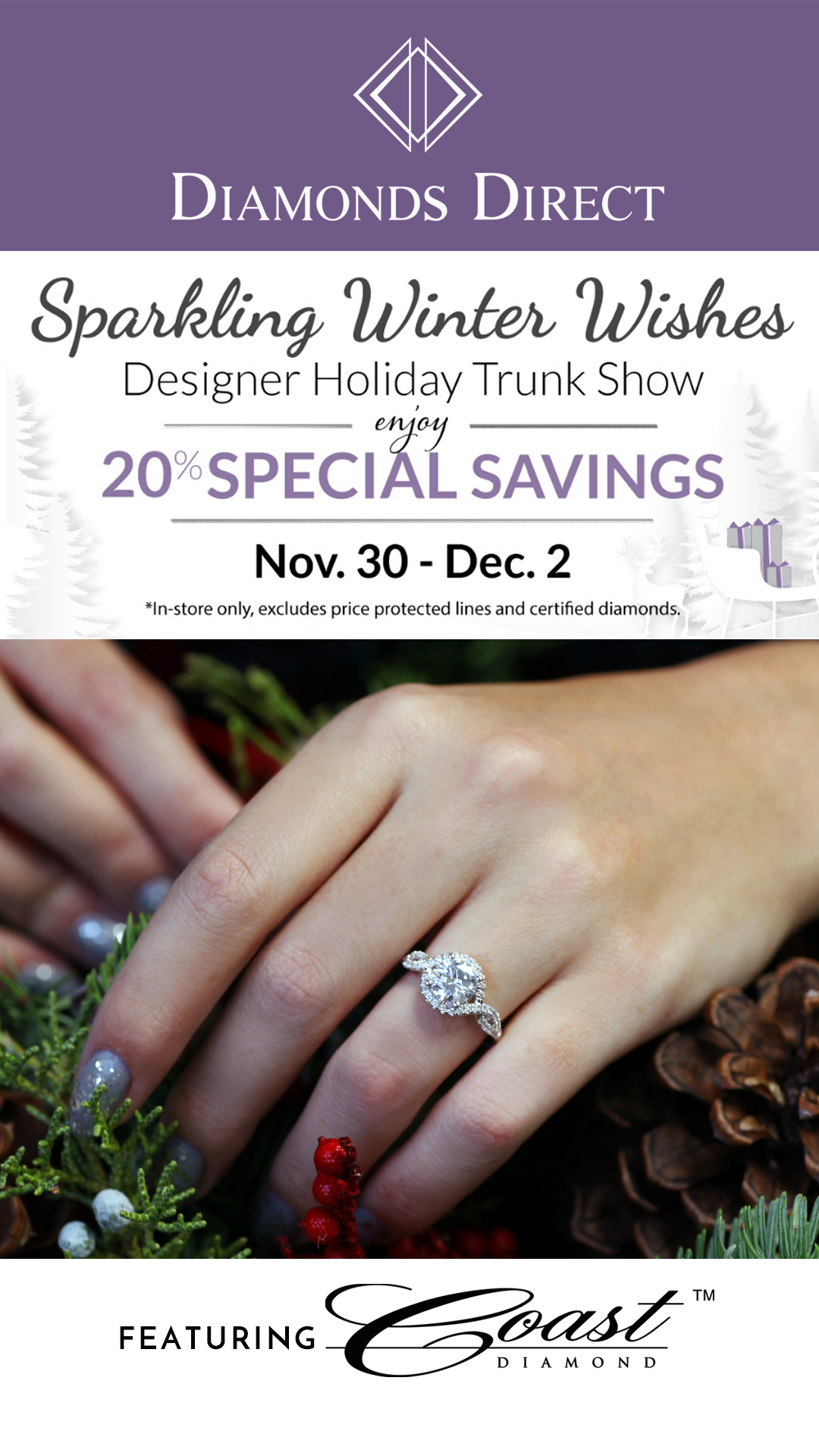 Attention Raleigh, NC Residents! Visit the Diamonds Direct Designer Holiday Trunk Show Featuring Coast Diamond.