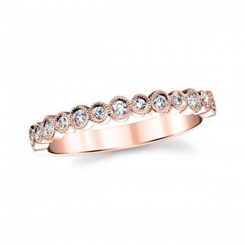 coast diamond rose gold fashion band wc20089 round shapes set with diamonds finished with milgrain edging