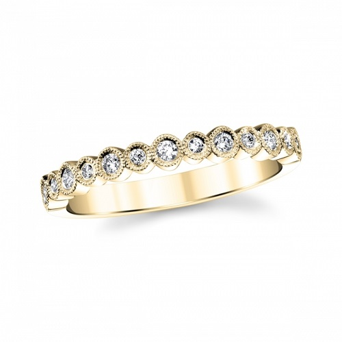 coast diamond yellow gold fashion band wc20089 round shapes set with diamonds finished with milgrain edging