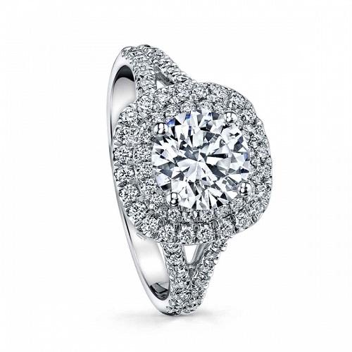 Coast Diamond split shank engagement ring LC10021 with double halo