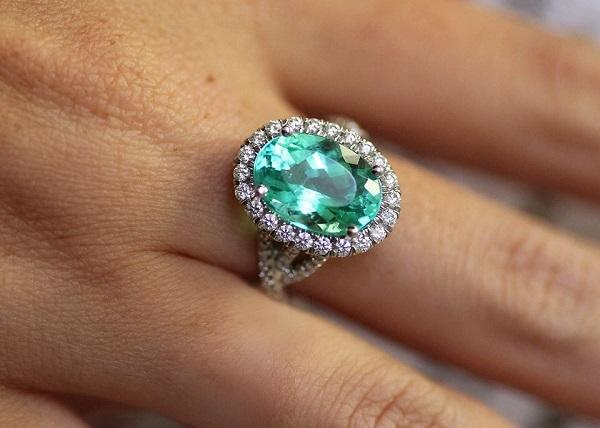 Rare Paraiba and Diamond Rings from Coast at Costello Jewelry Company of Chicago