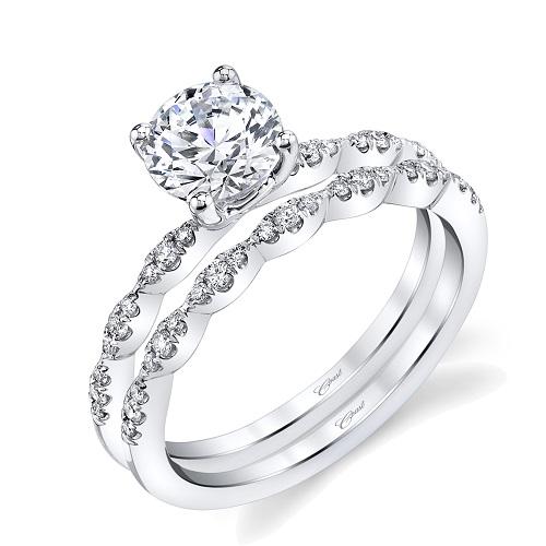 Coast Diamond wedding set scalloped band fishtail set diamonds LC6101 WC6101