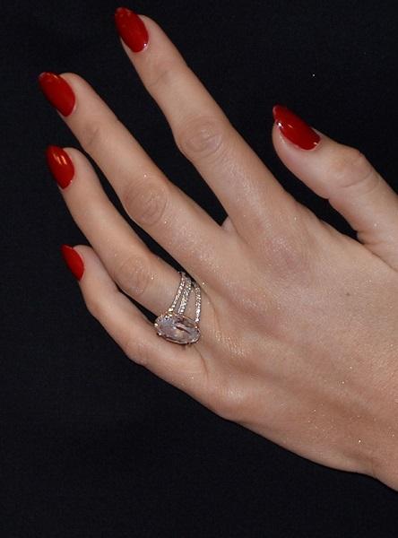 Blake Lively oval-shaped engagement ring wedding band layers rose gold