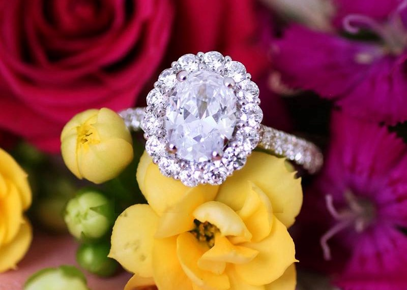 The Oval-Shaped Diamond Engagement Ring and the Wedding Bands That Complete Her Set at Diamonds on Wabash in Chicago