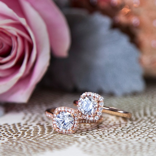 Coast Diamond Cushion Shaped halo engagement ring from left LC5391, LC5381