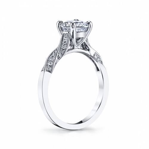 Coast Diamond Engagement Ring LC6092 twisting pave set diamonds milgrain edging side