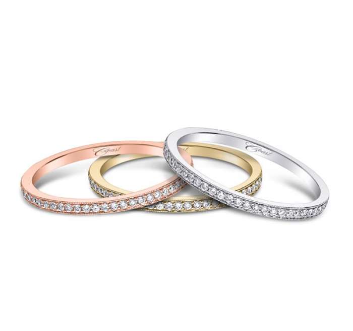 Coast Diamond stackable wedding bands WC5191H rose yellow white gold platinum