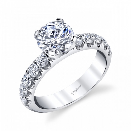 Coast Diamond 1.5 CT engagement ring LS10178 3/4 ctw fishtail set diamond shank