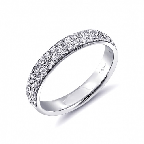 Coast Diamond band WC10332 pave set diamonds in two rows