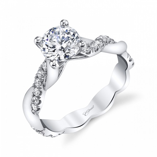Coast Diamond twisting solid and diamond band engagement ring LC7049