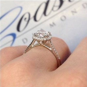 Coast Diamond cushion shaped halo engagement ring LC5410 surprise diamond in gallery