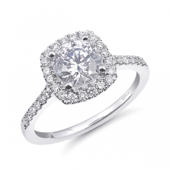 Coast Diamond halo engagement ring LC20001 with microprong set diamond on the shank