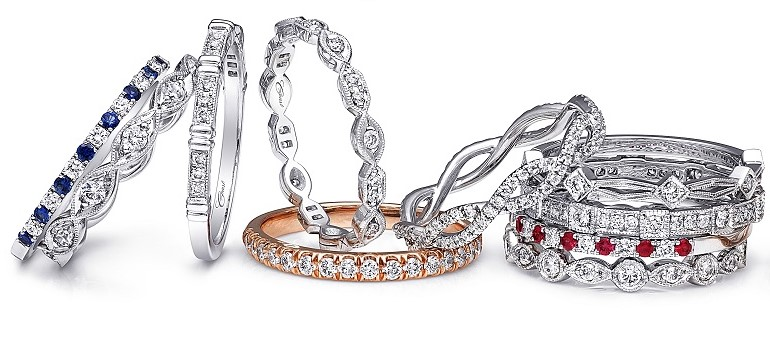 Sapphire, Ruby & Diamond Stackable Rings: Coast Diamond and McGuire's Jewelers, Tuscon, AZ