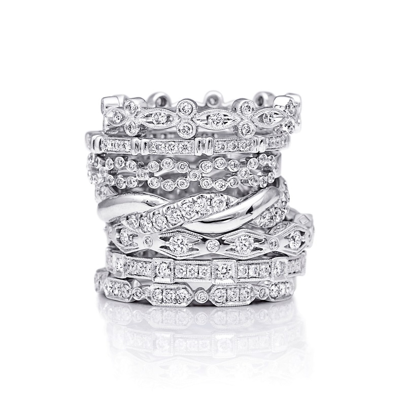 Coast Diamond stackable bands Top to bottom - WC10190H, WC10194H, WC10191H, WC10180, WC10142H, WC10156H & WC10140H