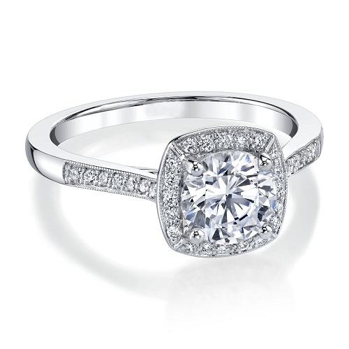 Coast Diamond cushion shaped halo engagement ring LC5391 milgrain edging