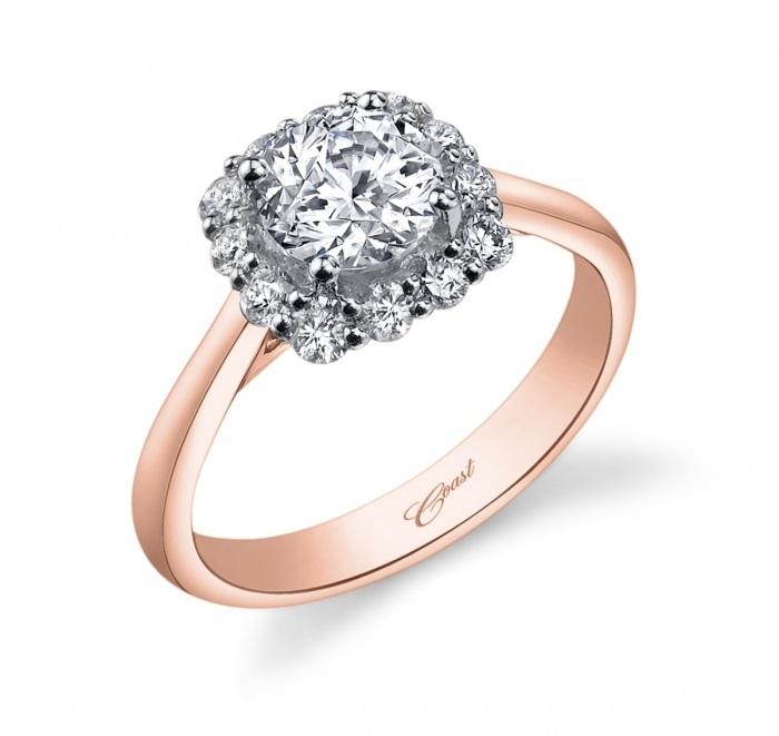 Coast Diamond cushion-shaped halo engagement ring LC5254-100 high-polished rose gold shank