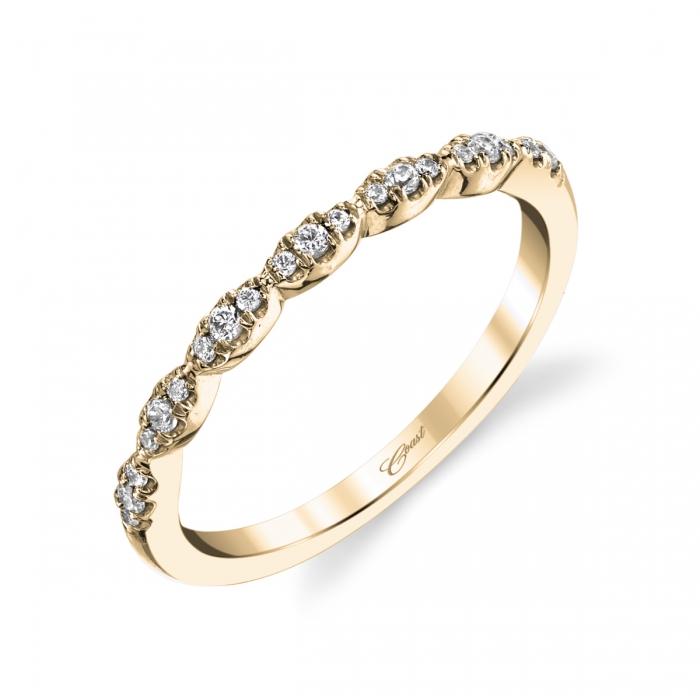Coast Diamond scalloped wedding band of fishtail set diamonds WC6101YG yellow gold