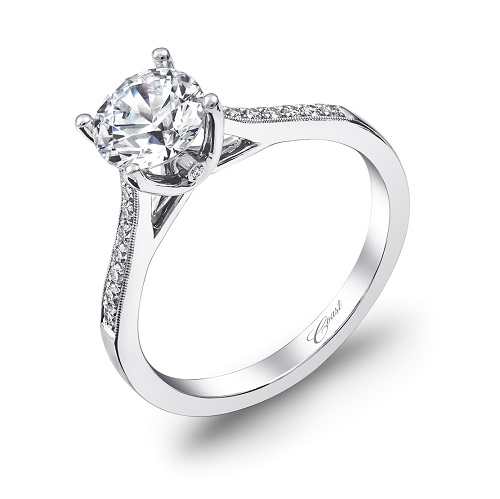 Coast Diamond engagement ring LC5389 pave set diamonds, milgrain edging, peek-a-boo diamond
