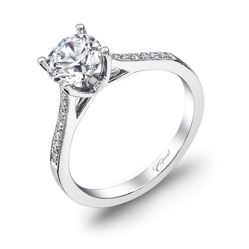 Coast Diamond engagement ring LC5389 pave set diamonds, milgrain edging, peek-a-boo diamond