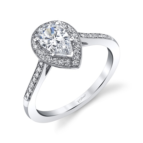 Coast Diamond pear-shaped halo engagement ring LC5391-PRS pave-set diamonds, milgrain edging